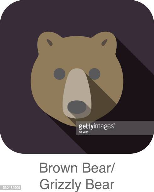 Brown bear face flat icon design. Animal icons series.