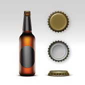 Vector Closed Blank Glass Transparent Brown Bottle of  Light Beer with  Black label and  Set of Caps Side Top Back View for Branding Close up Isolated on White Background.