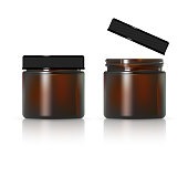 Brown glass jar for cosmetic cream. Realistic cosmetic package