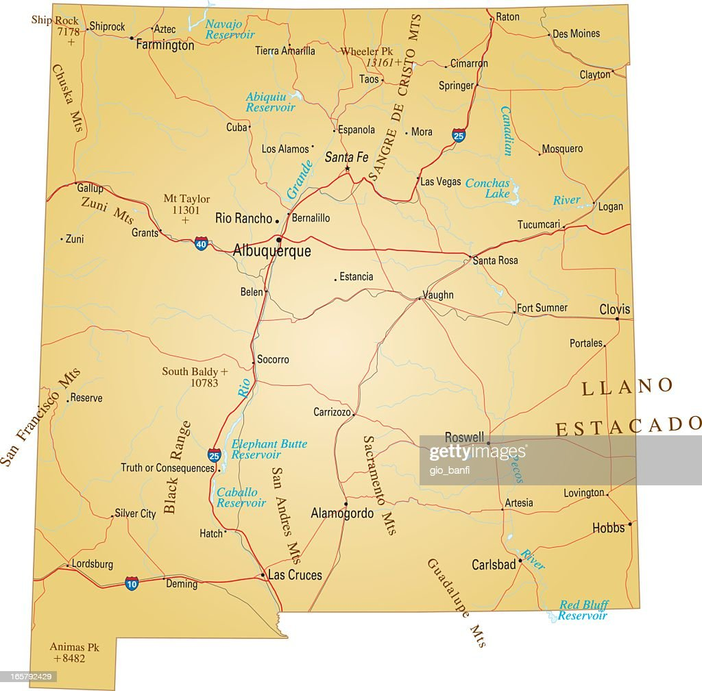 Brown Isolated Map Of New Mexico Vector Art Getty Images