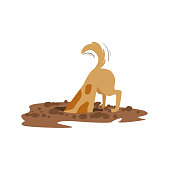 Brown Pet Dog Digging The Dirt In The Garden, Animal Emotion Cartoon Illustration. Cute Realistic Active Hound Vector Character Everyday Life Scene Emoji.
