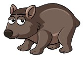 Brown wombat with sad face illustration