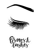 Brows and lashes logo. Vector illustration of brows and lashes. For beauty salon, brows master, lash extensions maker.