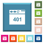 Browser 401 Unauthorized white icons on edged square buttons in various trendy colors