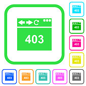 Browser 403 forbidden vivid colored flat icons in curved borders on white background