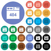 Browser 404 page not found multi colored flat icons on round backgrounds. Included white, light and dark icon variations for hover and active status effects, and bonus shades.