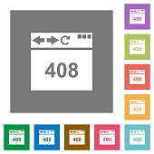 Browser 408 request timeout flat icons on simple color square backgrounds