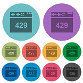 Browser 429 Too Many Requests darker flat icons on color round background
