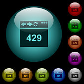 Browser 429 Too Many Requests icons in color illuminated spherical glass buttons on black background. Can be used to black or dark templates