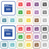Browser 500 internal server error color flat icons in rounded square frames. Thin and thick versions included.