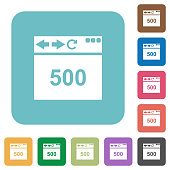 Browser 500 internal server error white flat icons on color rounded square backgrounds