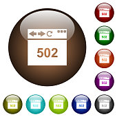 Browser 502 Bad gateway white icons on round color glass buttons