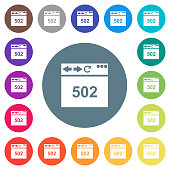 Browser 502 Bad gateway flat white icons on round color backgrounds. 17 background color variations are included.