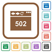 Browser 502 Bad gateway simple icons in color rounded square frames on white background