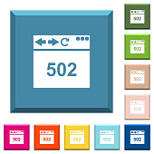 Browser 502 Bad gateway white icons on edged square buttons in various trendy colors