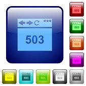 Browser 503 Service Unavailable icons in rounded square color glossy button set