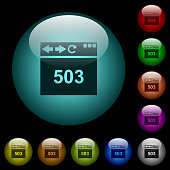 Browser 503 Service Unavailable icons in color illuminated spherical glass buttons on black background. Can be used to black or dark templates