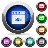 Browser 503 Service Unavailable icons in round glossy buttons with steel frames