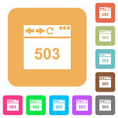 Browser 503 Service Unavailable flat icons on rounded square vivid color backgrounds.