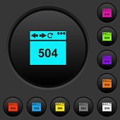 Browser 504 Gateway Timeout dark push buttons with vivid color icons on dark grey background