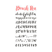 Brush pen handwritten alphabet, letters, numbers and symbols, vector font, handmade, lettering