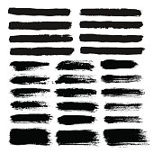 Brush Strokes Set. Painted text boxes. Sketchy hand drawn design elements. Distress scratch texture. Paintbrush on paper. Black and white vector illustration