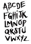 Brushpen comic lettering font. Vector alphabet.Brushpen comic lettering font. Vector alphabet.