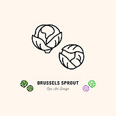 Brussel sprouts icon, Vegetables  Cabbage. Thin line art design, Vector outline illustration
