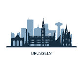 Brussels  skyline, monochrome silhouette. Vector illustration.
