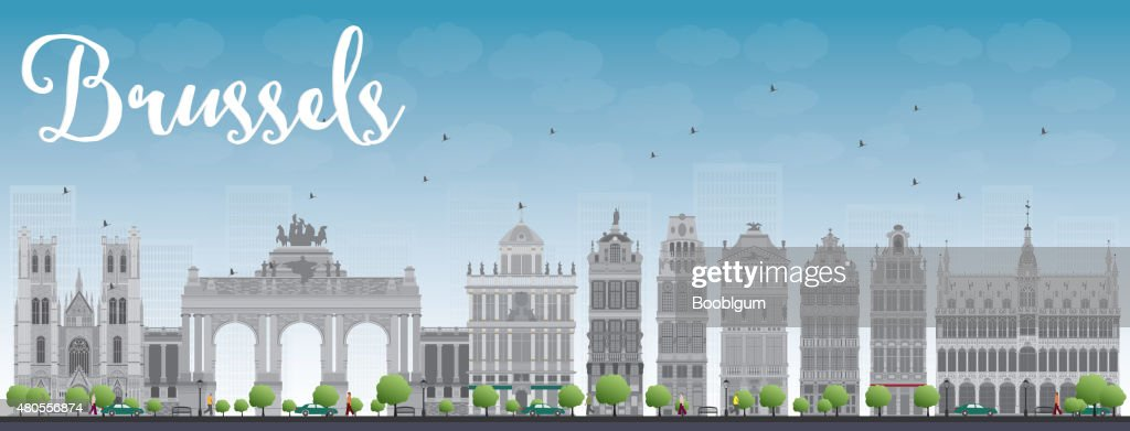 Brussels skyline with grey building and blue sky : Vector Art