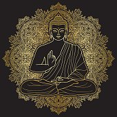 Buddha sitting in lotus position on floral round background. Sign for textile print, mascots and amulets. Gold symbol on black