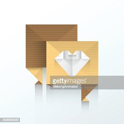 bubble talk love icon origami paper : Vector Art