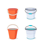 Buckets set. Flat vector illustration. Bucket empty and with water.