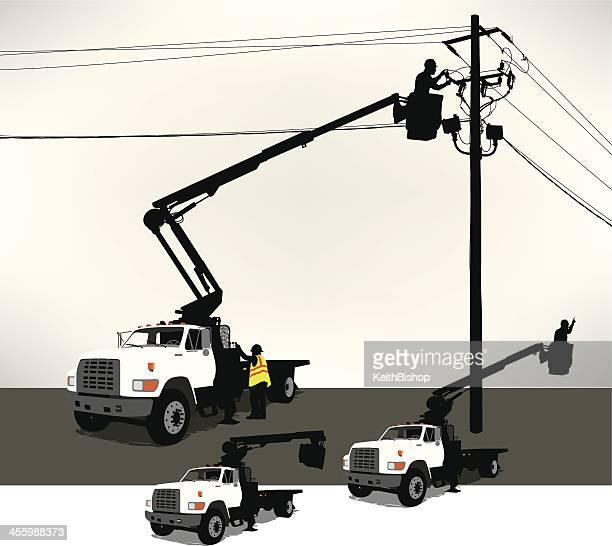 Cilindro de camión, electricistas, línea de alimentación