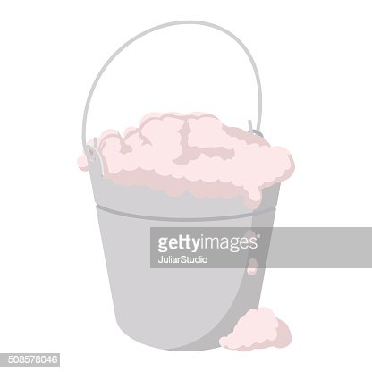 Bucket with foamy water cartoon icon : Vector Art