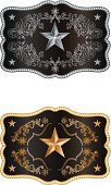 Squared buckle with floral hand drawn ornaments and the Lone star of Texas.