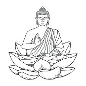 Sitting outline Buddha on Lotus isolated on white background. Sign for tattoo, textile print, mascots and amulets. Coloring page.
