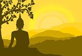 sunset, silhouette,monk,tree,Bodhi,buddha,statue