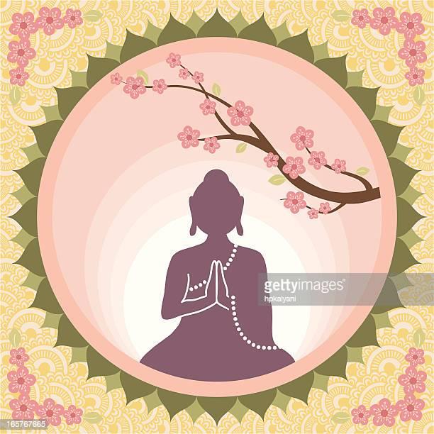 Bouddha avec fleurs