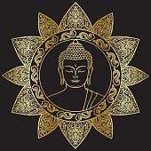 Hand drawn Buddha head with floral decoration. Sign for tattoo, textile print, mascots and amulets. Gold and black symbol.