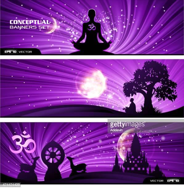 Bouddhisme bannière ensemble