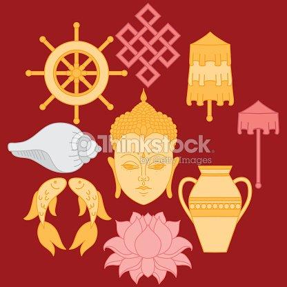 Buddhist Symbolism The 8 Auspicious Symbols Of Buddhism Vector Art