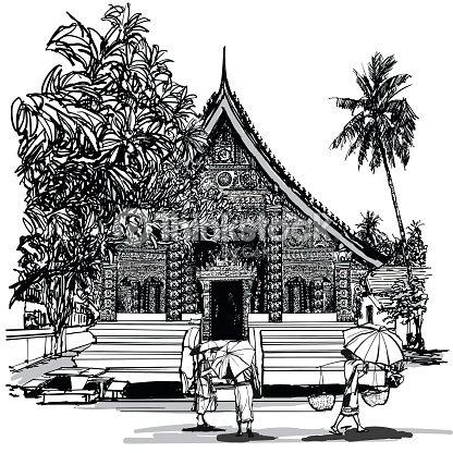 templo budista na Ásia com budistas arte vetorial thinkstock