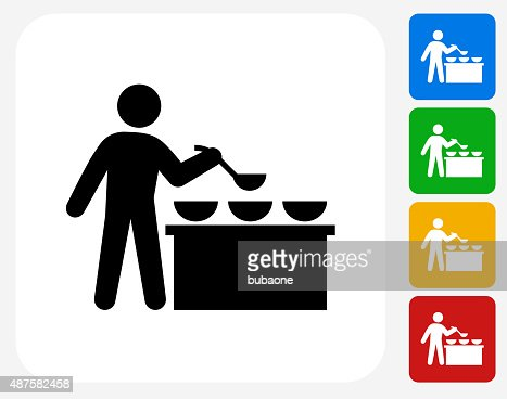 Buffet And Soup Kitchen Icon Flat Graphic Design Vector Art Getty Images