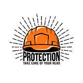 Oldschool, retro, hipster with worker, builder helmet or hard hat, sunburst, inscription on a white background. Vector illustration.