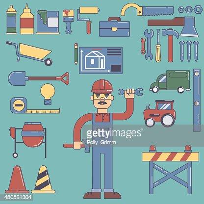Builders icons set. Vector color flat illustrations : Vector Art