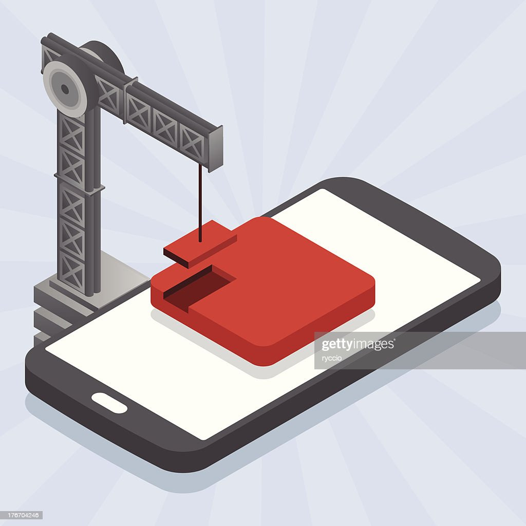 Building An App On Mobile Phone Vector Art Getty Images