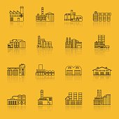 Building Factory Outline Icon Set