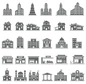Detailed building icons set isolated on white background, vector EPS 10.