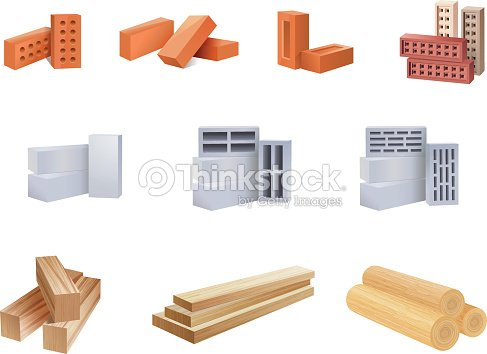 Building Materials Icons - Illustration : stock vector